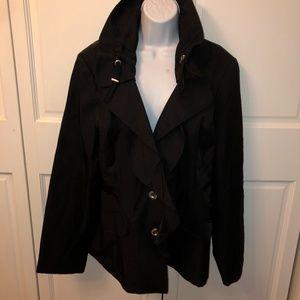 NWT White House BLACK MARKET BLACK RUFFLE COAT XL